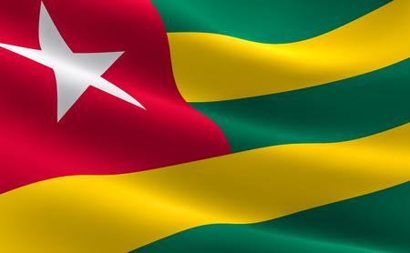 Flag of Togo. Illustration of the Togo flag waving. Banco de Imagens