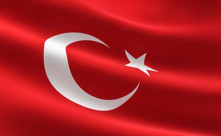 Flag of Turkey. Illustration of the Turkish flag waving. Banco de Imagens