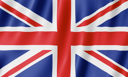 Flag of the United Kingdom. Illustration of the British UK flag waving.