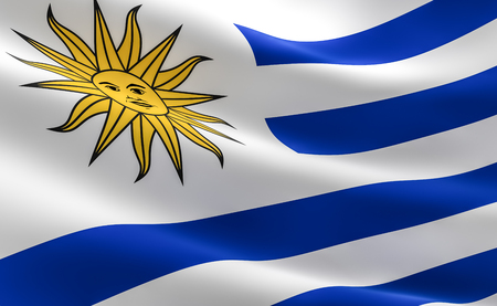 Flag of Uruguay. Illustration of the Uruguayan flag waving.