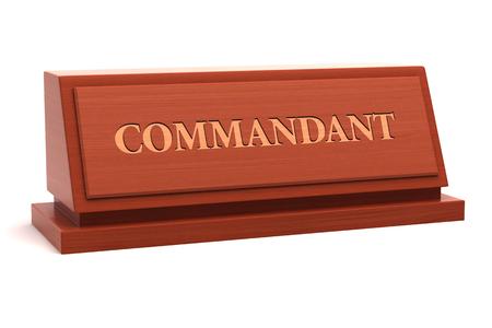 Titre du commandant sur la plaque signalétique Banque d'images