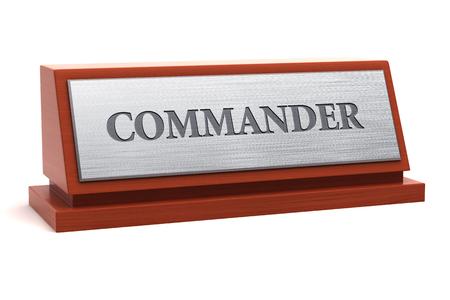 Commander title on nameplate Banque d'images - 95710781