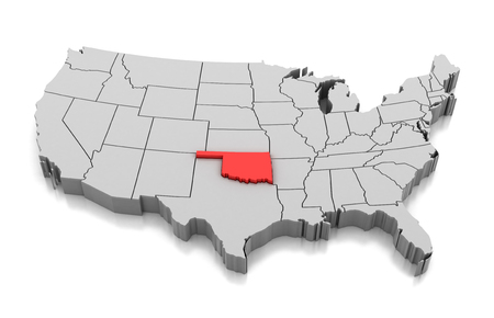 Map of Oklahoma state, USA, isolated on white.