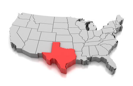 Map of Texas state, USA, isolated on white. 版權商用圖片 - 95711253