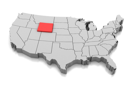 Map of Wyoming state, USA, isolated on white. 写真素材