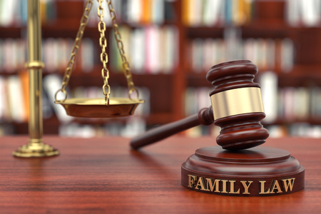 Family Law. Gavel and word Family on sound block Standard-Bild