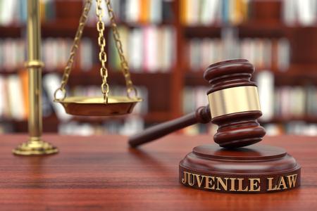 Juvenile Law. Gavel and word Juvenile on sound block Standard-Bild