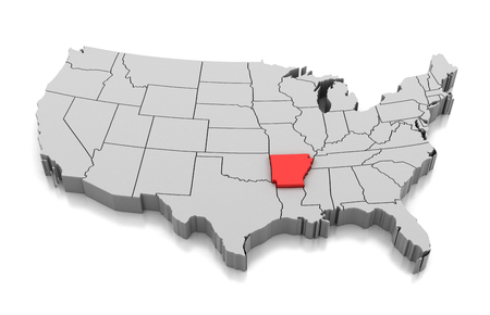 Map of Arkansas state isolated on white.