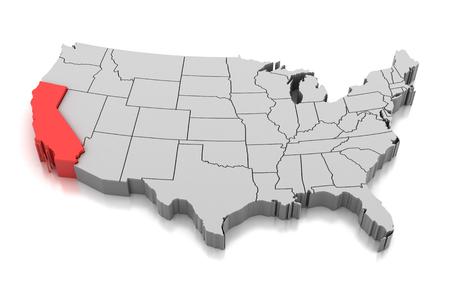 Kaart van de staat van Californië op wit wordt geïsoleerd dat.