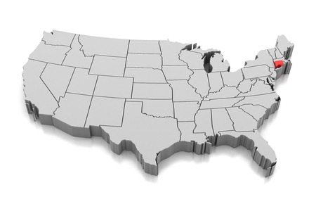 Map of Connecticut state, USA, isolated on white. Stock Photo
