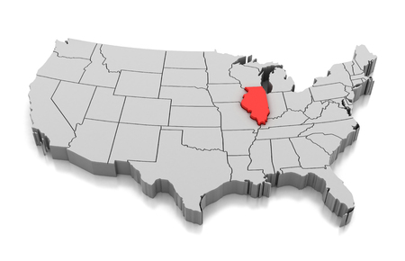 Map of Illinois state, USA, isolated on white.