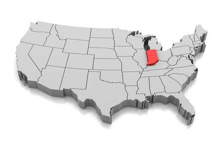 Map of Indiana state, USA, isolated on white.