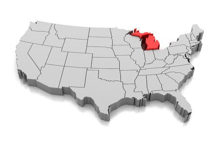 Map of Michigan state, USA, isolated on white.