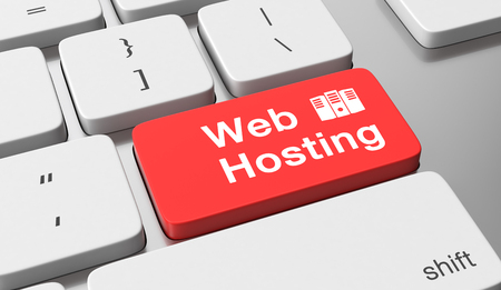 Web hosting text on keyboard button Stockfoto
