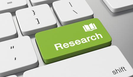 Research text written on keyboard button Foto de archivo