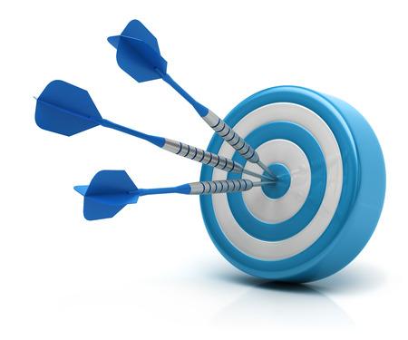 Success concept, darts hitting bullseye on dartboard Standard-Bild