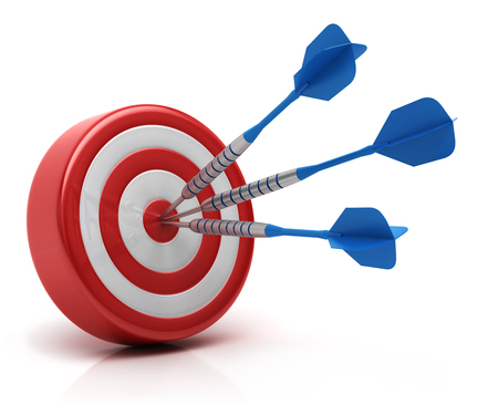 Success concept, darts hitting bullseye on dartboard Stock Photo