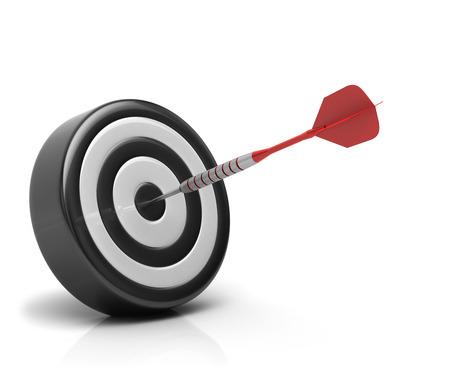 Success concept, darts arrow hitting bullseye on dartboard