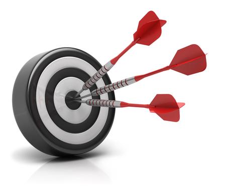 Success concept, darts arrows hitting bullseye on dartboard