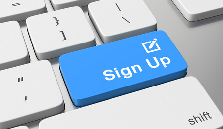 Sign up text on keyboard button 스톡 콘텐츠