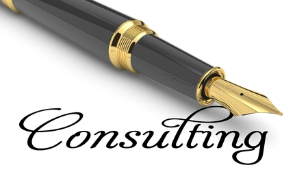 Consulting word handwritten with fountain pen Stock Photo
