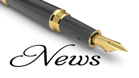 News word handwritten with fountain pen Stock Photo