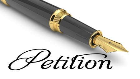 Petition word handwritten with fountain pen Stock Photo
