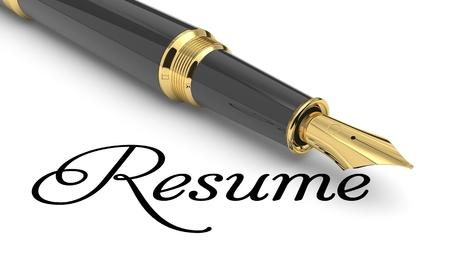 Resume word handwritten with fountain pen Фото со стока