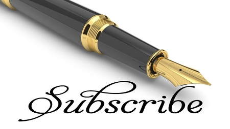 Subscribe word handwritten with fountain pen Stock Photo