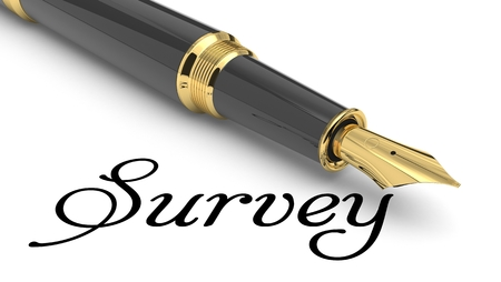 Survey word handwritten with fountain pen Stock Photo