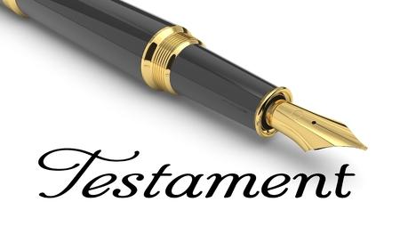 Testament word handwritten with fountain pen