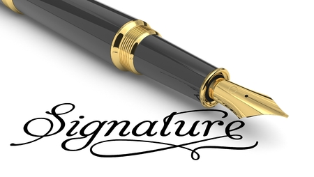 Signature handwritten with fountain pen Stock Photo