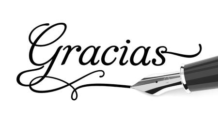 Gracias handwritten with fountain pen