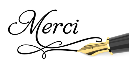 Merci handwritten with fountain pen Standard-Bild
