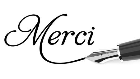 Merci handwritten with fountain pen Stock Photo