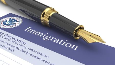 Immigration document Standard-Bild