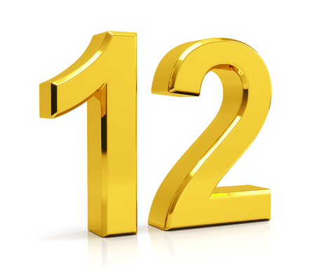 白い背景に隔離された番号12