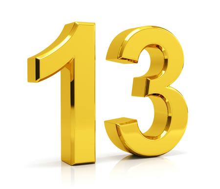 Number 13 isolated on white background Stockfoto
