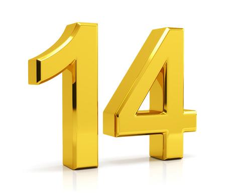 Nummer 14 geïsoleerd op een witte achtergrond