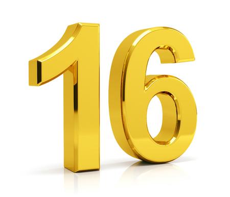 Number 16 isolated on white background Standard-Bild