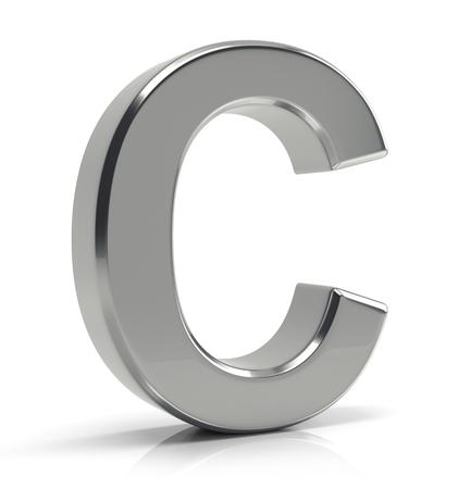 3D srebrna litera C na białym tle