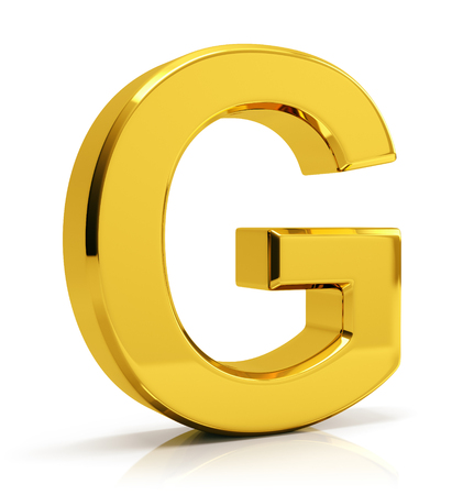 3D gold letter G isolated on white background