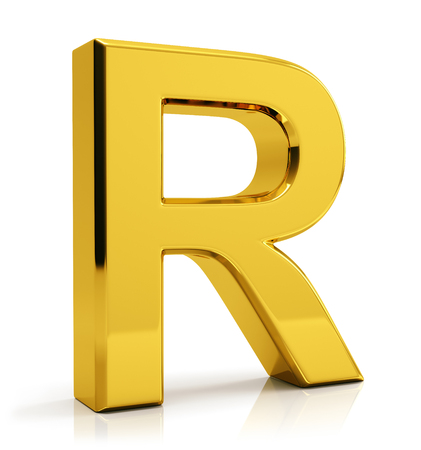 3D gold letter R isolated on white background Foto de archivo