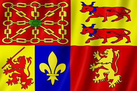 Flag of Pyrenees Atlantiques, France. 3d illustration of Pyrenees-Atlantiques flag waving.