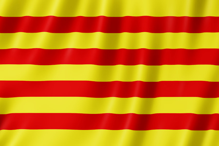 Flag of Pyrenees Orientales, France. 3d illustration of Pyrenees-Orientales flag waving.