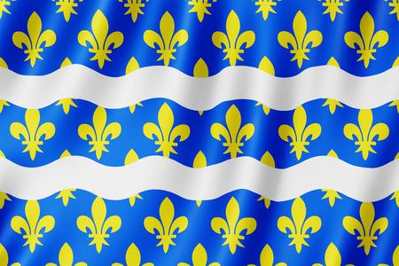 Flag of Seine-et-Marne, France. 3d illustration of Seine-et-Marne flag waving. Archivio Fotografico - 110373961