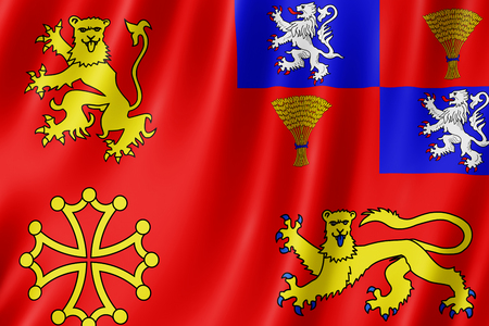 Flag of Tarn-et-Garonne, France. 3d illustration of Tarn-et-Garonne flag waving. Standard-Bild - 110373963