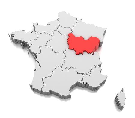 Map of Bourgogne Franche Comte region, France Stock Photo