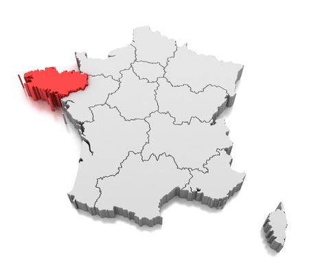 Mappa della regione della Bretagna, Francia