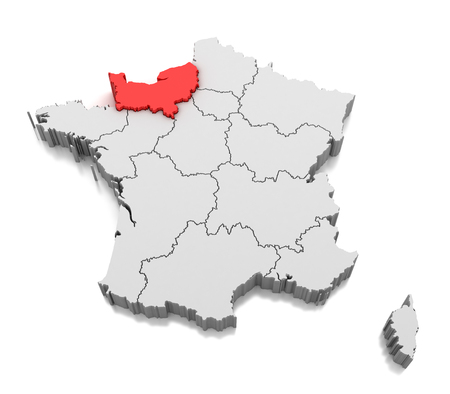 Map of Normandy region, France Stock Photo